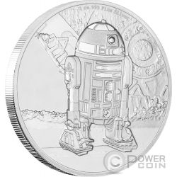 R2-D2 Star Wars Classic 1 Oz Moneta Argento 2$ Niue 2016