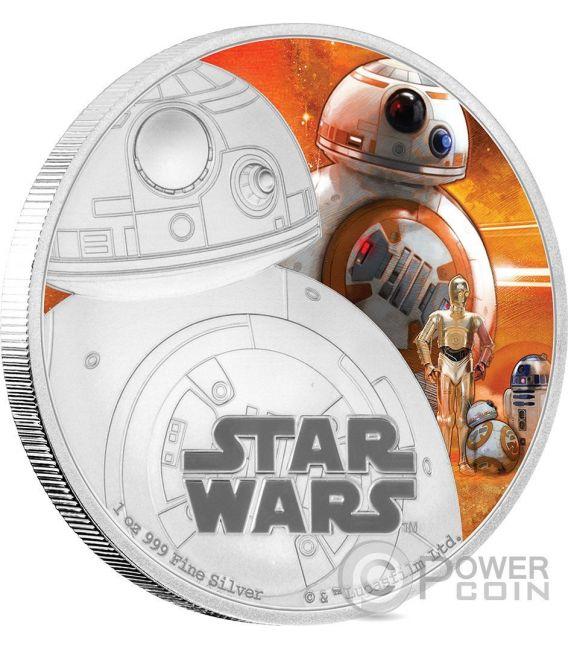 BB-8 Il Risveglio Della Forza Star Wars The Force Awakens 1 oz Moneta Argento 2$ Niue 2016