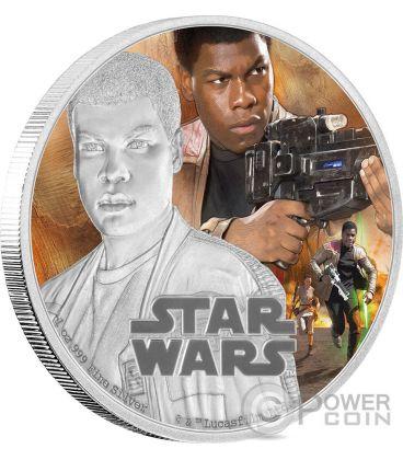 FINN Il Risveglio Della Forza Star Wars The Force Awakens 1 oz Moneta Argento 2$ Niue 2016
