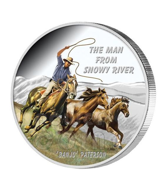 MAN FROM SNOWY RIVER Banjo Paterson Silver Coin 1$ Tuvalu 2010