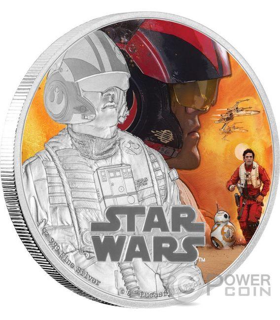 POE DAMERON Il Risveglio Della Forza Star Wars The Force Awakens 1 oz Moneta Argento 2$ Niue 2016