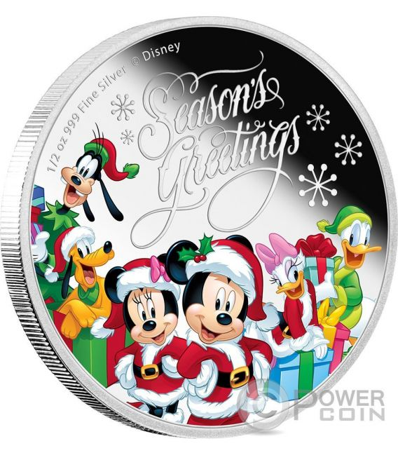 SEASON GREETINGS Natale Mickey And Friends Disney 1/2 Oz Moneta Argento 1$ Niue 2016
