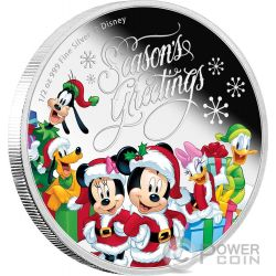 SEASON GREETINGS Christmas Mickey And Friends Disney 1/2 Oz Silver Proof Coin 1$ Niue 2016