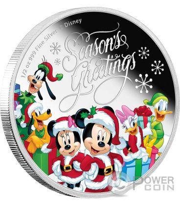 SEASON GREETINGS Natale Mickey And Friends Disney 1/2 Oz Moneta Argento 1$ Niue 2016