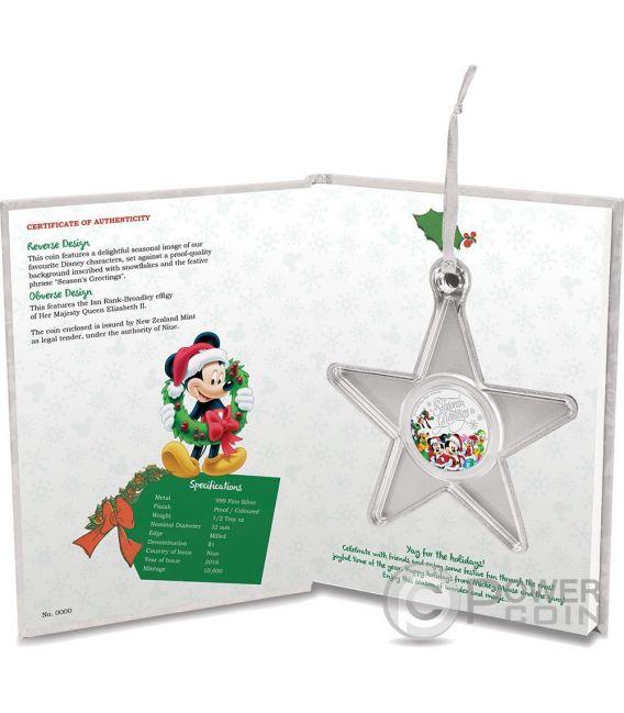 SEASON GREETINGS Christmas Mickey And Friends Disney 1/2 Oz Plata Proof Moneda 1$ Niue 2016