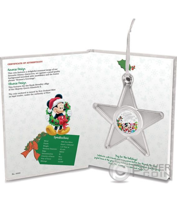 SEASON GREETINGS Christmas Mickey And Friends Disney 1/2 Oz Silber Proof Münze 1$ Niue 2016