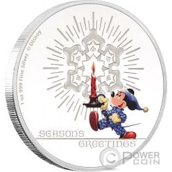 SEASON GREETINGS CLASSIC Biglietto Auguri Natale Mickey Mouse Disney 1 Oz Moneta Argento 2$ Niue 2016