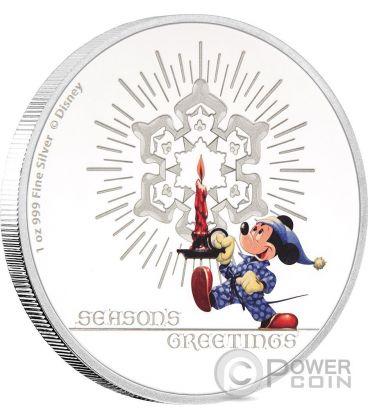 SEASON GREETINGS CLASSIC Biglietto Auguri Natale Mickey Mouse Disney 1 Oz Moneta Argento 2$ Niue 2016
