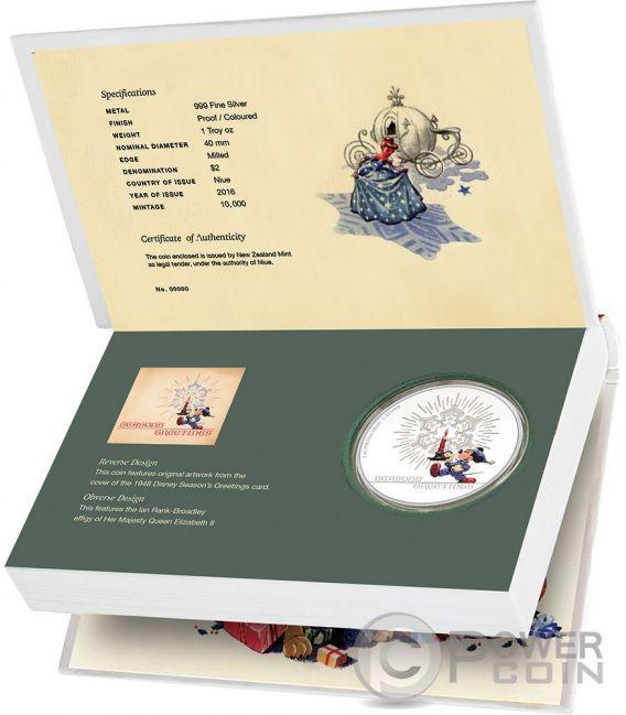 SEASON GREETINGS CLASSIC Card Christmas Mickey Mouse Disney 1 Oz Plata Proof Moneda 2$ Niue 2016