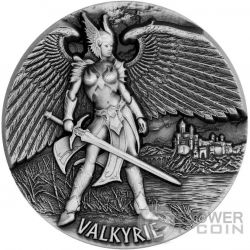 VALKYRIE Legends of Asgard Max Relief 3 Oz Moneda Plata 10$ Tokelau 2016