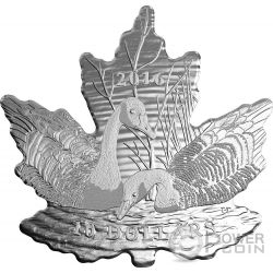 MAPLE LEAF SILHOUETTE Geese Oca Cut Out Silver Coin 10$ Canada 2016