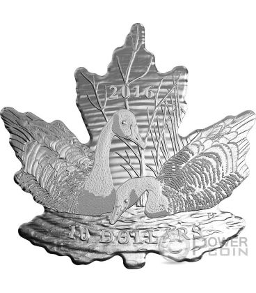 MAPLE LEAF SILHOUETTE Geese Cut Out Silver Coin 10$ Canada 2016
