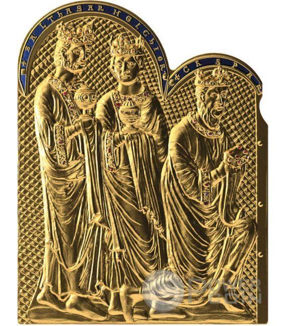 SHRINE OF THE THREE HOLY KINGS Magi Masterpieces of Art 3 Oz Moneta Argento 20$ Oro 25$ Cook Islands 2016