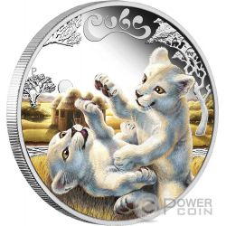 WHITE LION CUBS Baby Silver Coin 50 Cents Tuvalu 2016