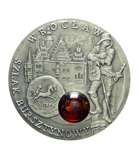 WROCLAW Amber Route Road Moneda Plata 1$ Niue 2009