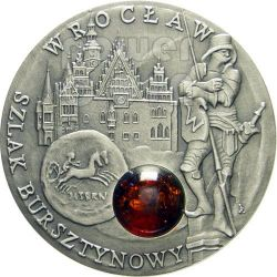 WROCLAW Amber Route Road Silber Münze 1$ Niue 2009