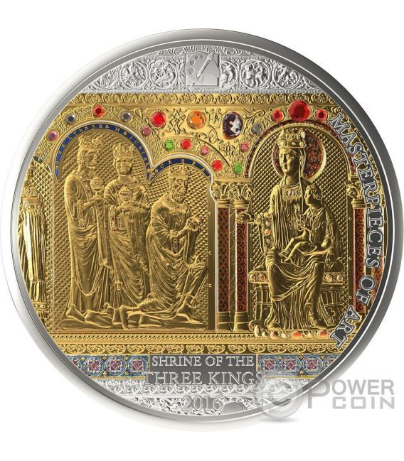 SHRINE OF THE THREE HOLY KINGS Masterpieces of Art 3 Oz Silver Coin 20$ Gold 25$ Cook Islands 2016