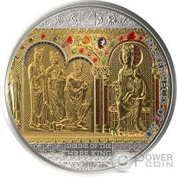 SHRINE OF THE THREE HOLY KINGS Magi Masterpieces of Art 3 Oz Moneta Argento 20$ Oro 25$ Cook Islands 2016