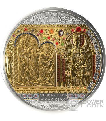 SHRINE OF THE THREE HOLY KINGS Magi Masterpieces of Art 3 Oz Moneta Argento 20$ Oro 25$ Isole Cook 2016