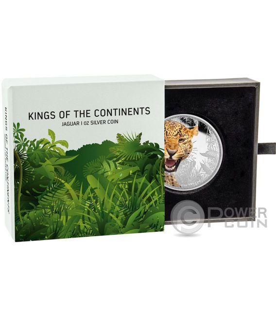 JAGUAR Kings of the Continents 1 Oz Moneda Plata 2$ Niue 2016