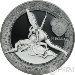 CUPID AND PSYCHE Amore Psiche Eternal Sculptures Canova 2 Oz Moneta Argento 10$ Palau 2016