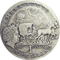 BRESLAVIA Via Ambra Amber Route Moneta Argento 1$ Niue 2009