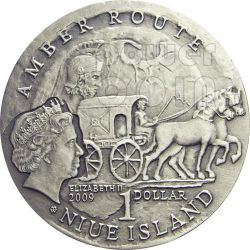 WROCLAW Amber Route Road Silver Coin 1$ Niue 2009