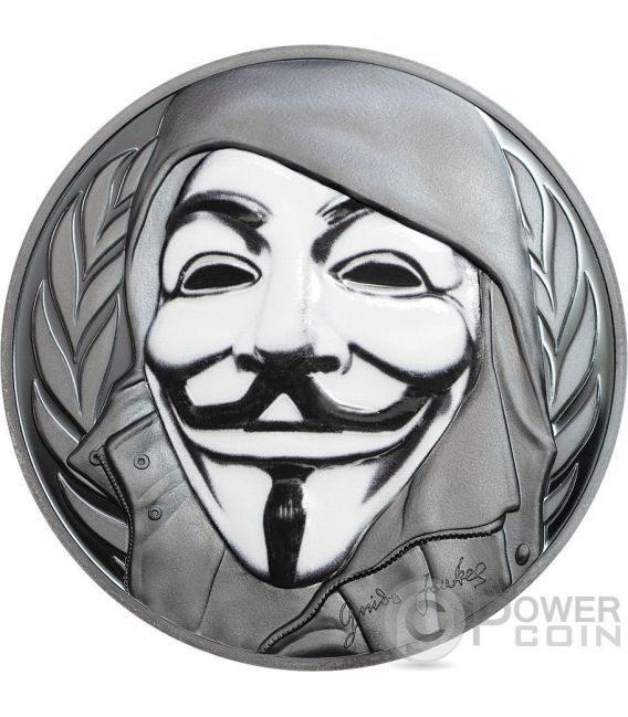 GUY FAWKES MASK Mascara Anonymous V for Vendetta 1 Oz Black Proof Moneda Plata 5$ Cook Islands 2016