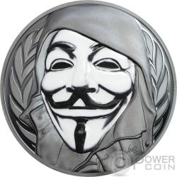 GUY FAWKES MASK Maschera Anonymous V for Vendetta 1 Oz Black Proof Moneta Argento 5$ Cook Islands 2016