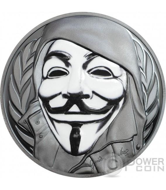 GUY FAWKES MASK Maschera Anonymous V for Vendetta 1 Oz Black Proof Moneta Argento 5$ Isole Cook 2016