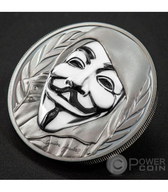 GUY FAWKES MASK Anonymous V for Vendetta 1 Oz Black Proof Серебро Монета 5$ Острова Кука 2016
