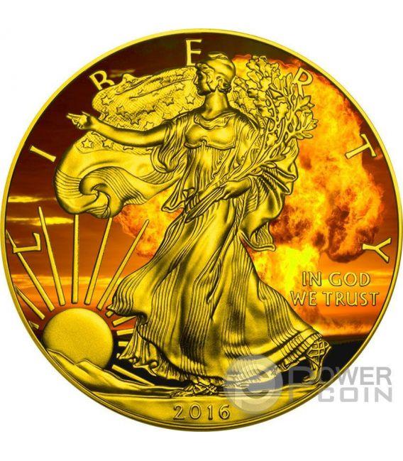 NUCLEAR EAGLE Armageddon Nuke Walking Liberty 1 Oz Moneda Plata 1$ US Mint 2016