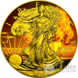 NUCLEAR EAGLE Armageddon Nuke Walking Liberty 1 Oz Moneta Argento 1$ US Mint 2016