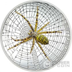 WASP SPIDER Magnificent Life Ragno 1 Oz Moneta Argento 5$ Cook Islands 2016