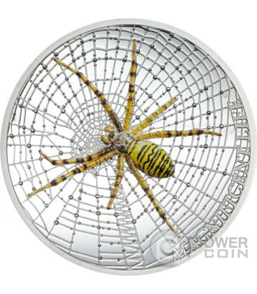 WASP SPIDER Magnificent Life Ragno 1 Oz Moneta Argento 5$ Cook Islands 2016