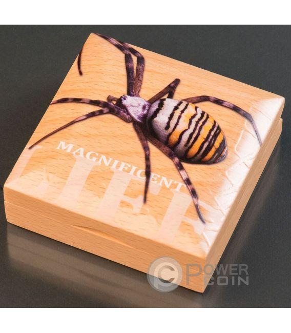 WASP SPIDER Magnificent Life 1 Oz Серебро Монета 5$ Острова Кука 2016
