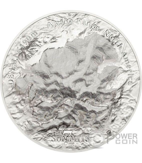DENALI 7 Summits Alaska Range Mount 5 Oz Silver Coin 25$ Cook Islands 2016