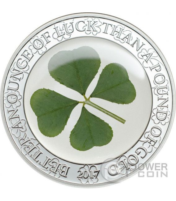 FOUR LEAF CLOVER Ounce Of Luck 1 Oz Moneda Plata 5$ Palau 2017
