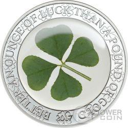 FOUR LEAF CLOVER Ounce Of Luck 1 Oz Серебро Монета 5$ Палау 2017