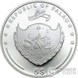 FOUR LEAF CLOVER Ounce Of Luck 1 Oz Moneda Plata 5$ Palau 2017