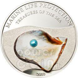PEARL BLUE Jewels Of The Sea Marine Life Silber Münze 5$ Palau 2010