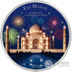 TAJ MAHAL Landmarks at Night Ultraviolet 2 Oz Silver Coin 2000 Francs Ivory Coast 2016
