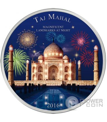 TAJ MAHAL Landmarks at Night Ultraviolet 2 Oz Moneta Argento 2000 Francs Costa Avorio 2016
