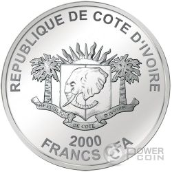TAJ MAHAL Landmarks at Night Ultraviolet 2 Oz Silver Coin 2000 Francs Ivory Coast 2016