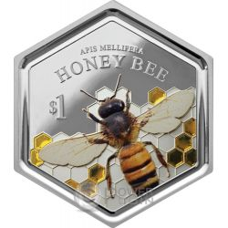 HONEY BEE Hexagonal Shape 1 Oz Silver Coin 1$ New Zealand 2016