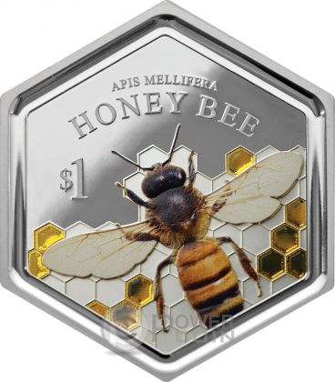 HONEY BEE Ape Hexagonal Shape Esagonale Forma 1 Oz Moneta Argento 1$ Nuova Zelanda 2016