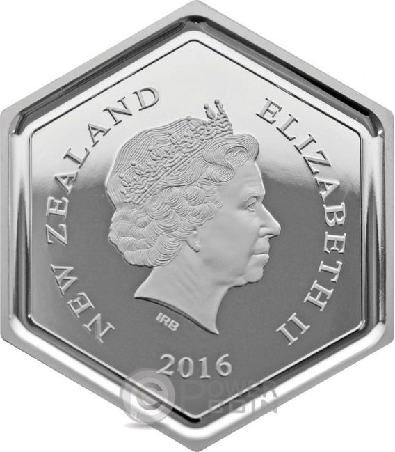 HONEY BEE Hexagonal Shape 1 Oz Moneda Plata 1$ New Zealand 2016