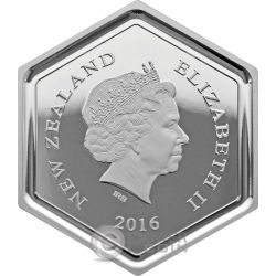 HONEY BEE Hexagonal Shape 1 Oz Moneda Plata 1$ New Zealand 2016