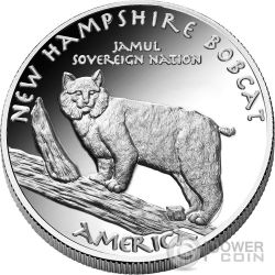HAMPSHIRE BOBCAT Abenaki Native State 1 Oz Silver Coin 1$ Jamul 2016