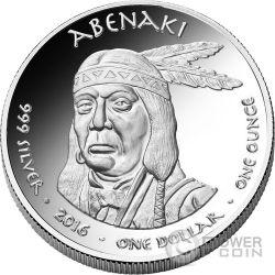 HAMPSHIRE BOBCAT Abenaki Native State 1 Oz Серебро Монета 1$ Jamul 2016